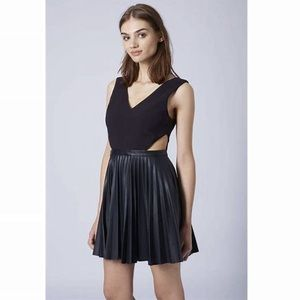 Topshop $139 Cutout Black Pleated Leather Dress 4